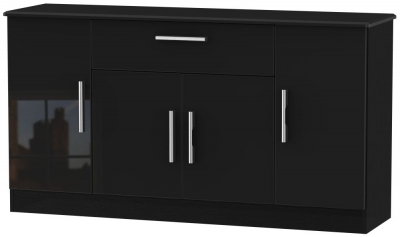 Knightsbridge High Gloss Black 4 Door 1 Drawer Wide Sideboard