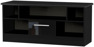 Knightsbridge High Gloss Black 1 Drawer Open TV Unit