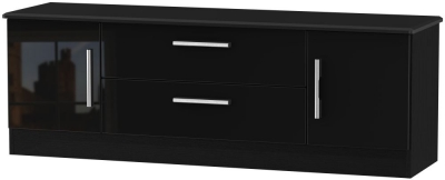 Knightsbridge High Gloss Black 2 Door 2 Drawer Wide TV Unit