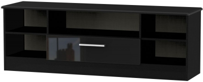 Knightsbridge High Gloss Black 1 Drawer Wide Open TV Unit