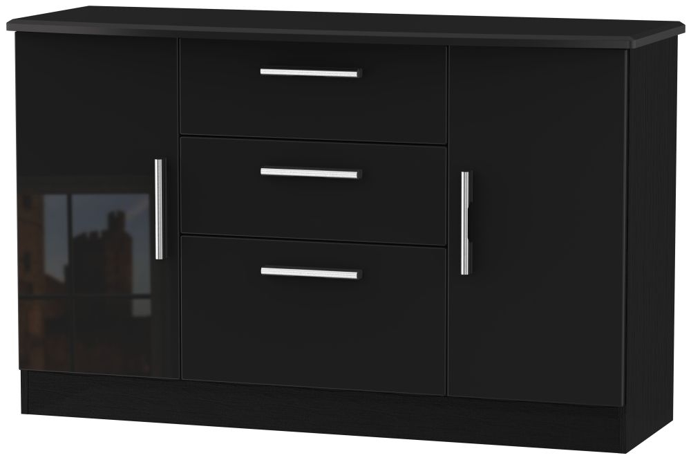 Knightsbridge High Gloss Black 2 Door 3 Drawer Sideboard
