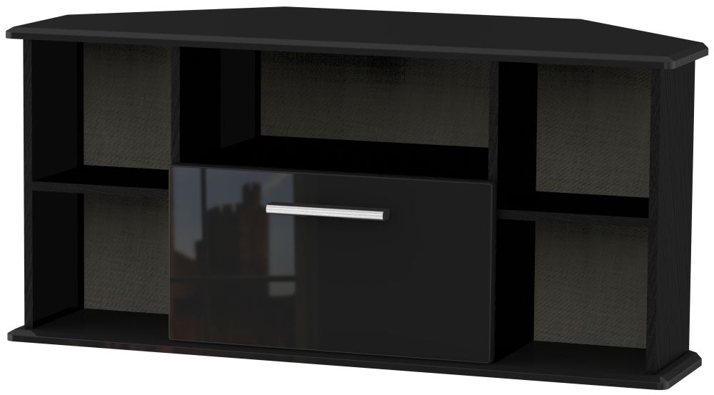 Knightsbridge High Gloss Black 1 Drawer Corner TV Unit