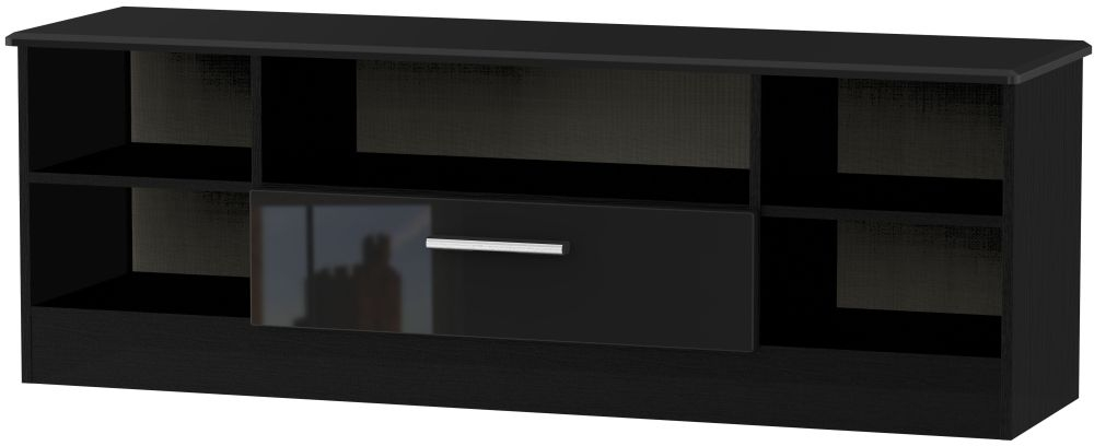 Knightsbridge High Gloss Black 1 Drawer Wide Open TV Unit