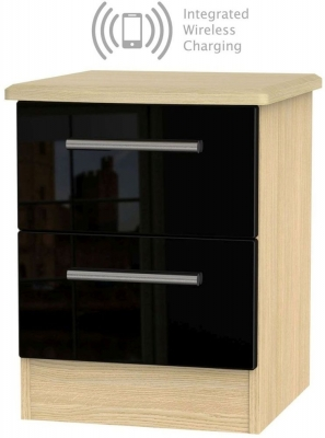 Knightsbridge 2 Drawer Bedside Cabinet with Integrated Wireless Charging - High Gloss Black and Light Oak