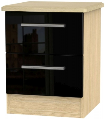 Knightsbridge 2 Drawer Bedside Cabinet - High Gloss Black and Light Oak
