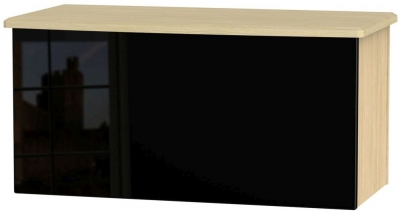 Knightsbridge Blanket Box - High Gloss Black and Light Oak