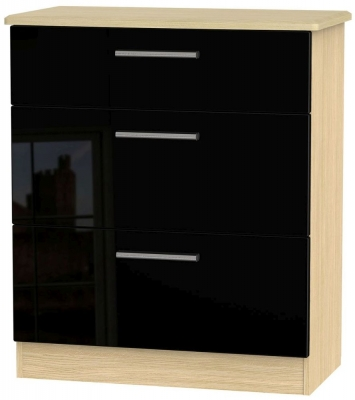 Knightsbridge High Gloss Black and Light Oak Chest of Drawer - 3 Drawer Deep