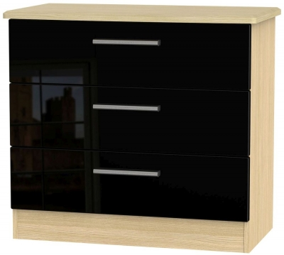 Knightsbridge High Gloss Black and Light Oak Chest of Drawer - 3 Drawer