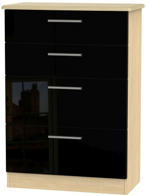 Knightsbridge High Gloss Black and Light Oak Chest of Drawer - 4 Drawer Deep