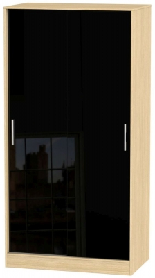 Knightsbridge 2 Door Sliding Wardrobe - High Gloss Black and Light Oak