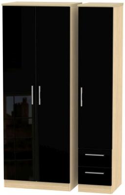 Knightsbridge 3 Door 2 Right Drawer Tall Wardrobe - High Gloss Black and Light Oak