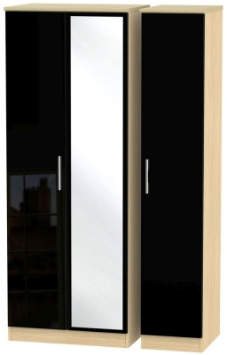 Knightsbridge 3 Door Tall Mirror Wardrobe - High Gloss Black and Light Oak