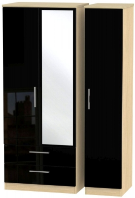 Knightsbridge 3 Door 2 Left Drawer Combi Wardrobe - High Gloss Black and Light Oak