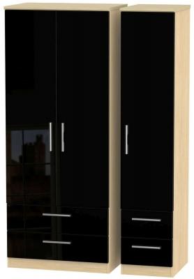 Knightsbridge 3 Door 4 Drawer Wardrobe - High Gloss Black and Light Oak