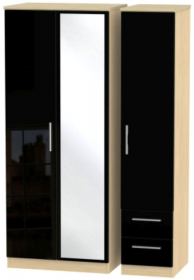 Knightsbridge 3 Door 2 Right Drawer Combi Wardrobe - High Gloss Black and Light Oak