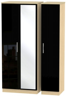 Knightsbridge 3 Door Mirror Wardrobe - High Gloss Black and Light Oak