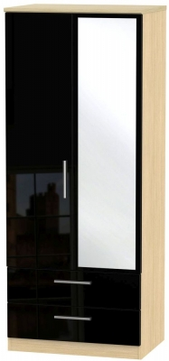 Knightsbridge 2 Door Combi Wardrobe - High Gloss Black and Light Oak