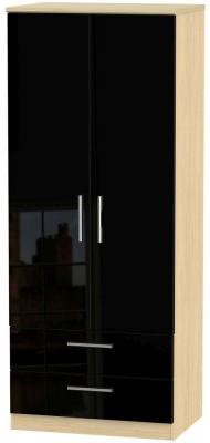 Knightsbridge 2 Door 2 Drawer Wardrobe - High Gloss Black and Light Oak