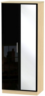 Knightsbridge 2 Door Mirror Wardrobe - High Gloss Black and Light Oak