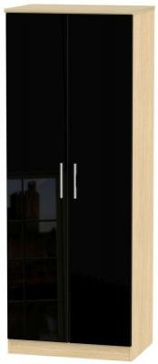 Knightsbridge 2 Door Tall Wardrobe - High Gloss Black and Light Oak