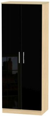 Knightsbridge 2 Door Tall Hanging Wardrobe - High Gloss Black and Light Oak