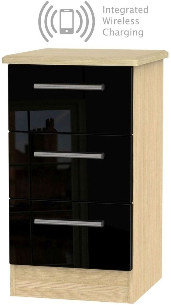 Knightsbridge 3 Drawer Bedside Cabinet with Integrated Wireless Charging - High Gloss Black and Light Oak