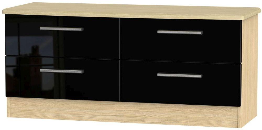 Knightsbridge High Gloss Black and Light Oak Bed Box - 4 Drawer