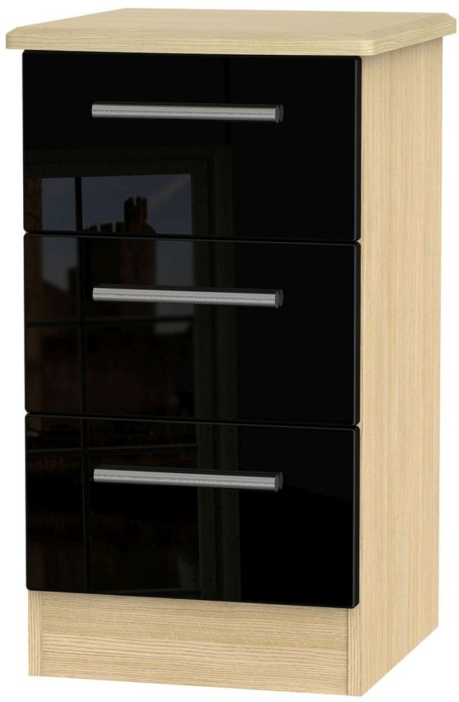 Knightsbridge High Gloss Black and Light Oak Bedside Cabinet - 3 Drawer Locker