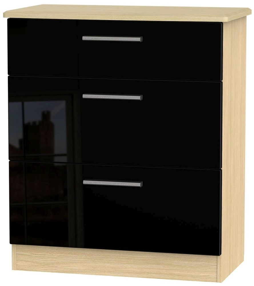 Knightsbridge High Gloss Black and Light Oak Chest of Drawer - 3 Drawer Deep