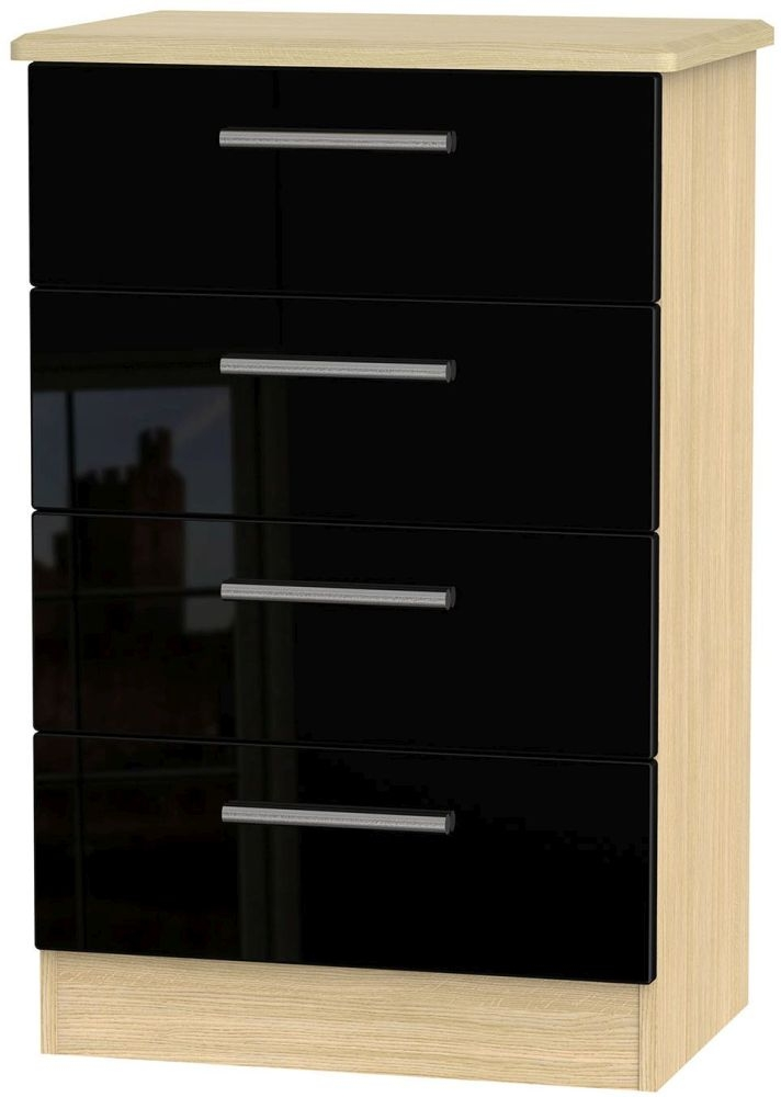 Knightsbridge High Gloss Black and Light Oak Chest of Drawer - 4 Drawer Midi