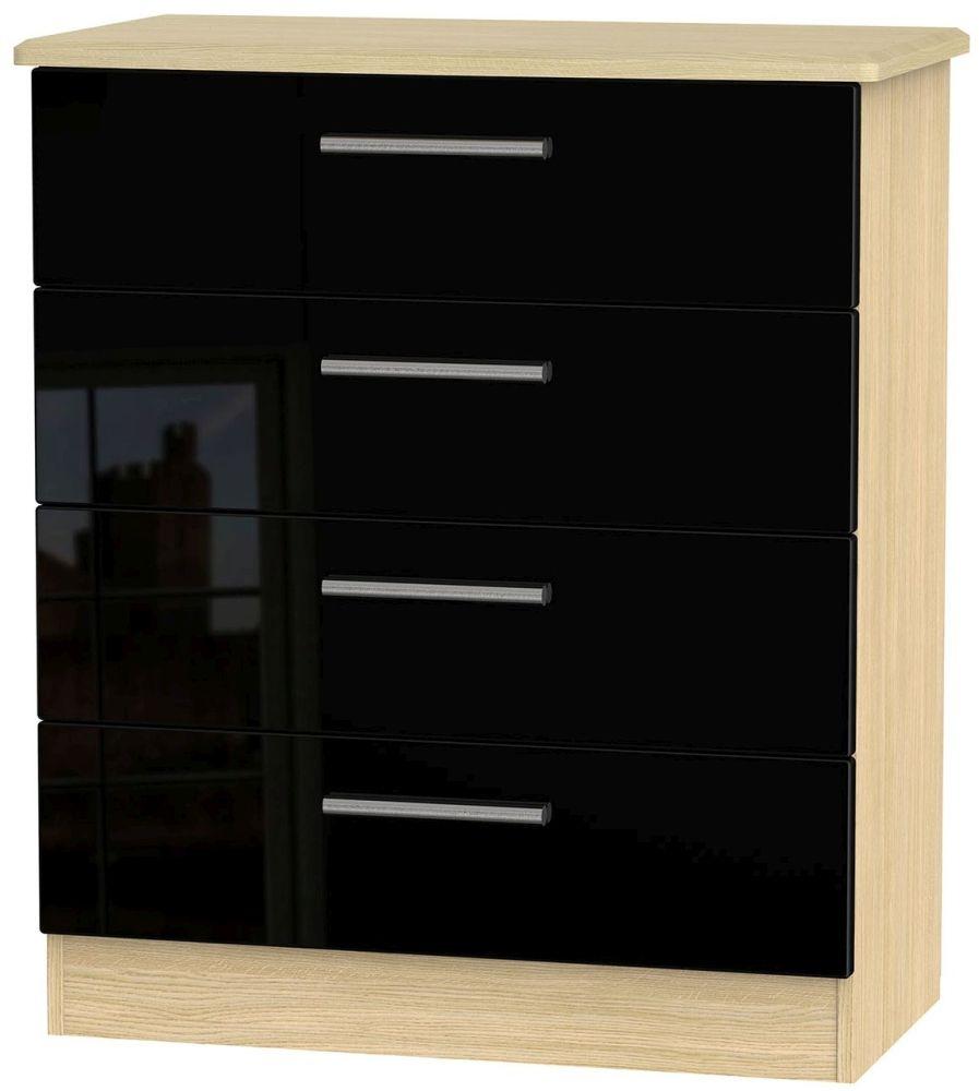 Knightsbridge High Gloss Black and Light Oak Chest of Drawer - 4 Drawer