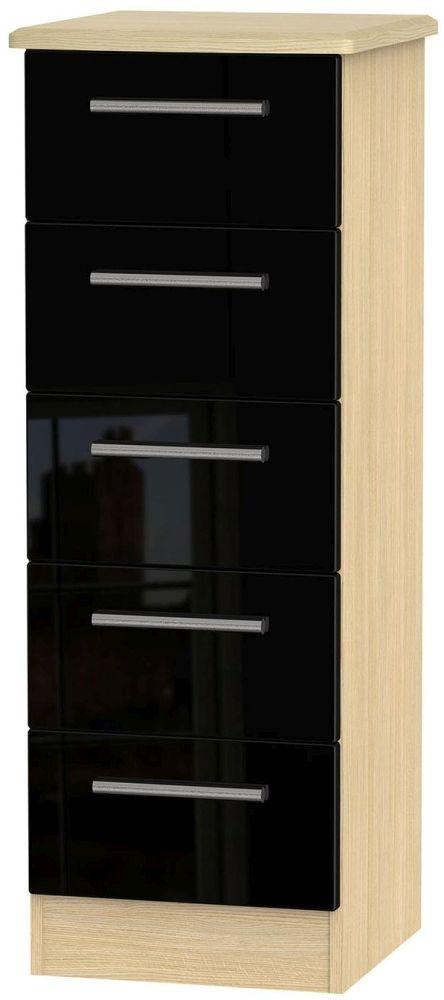 Knightsbridge 5 Drawer Tall Chest - High Gloss Black and Light Oak