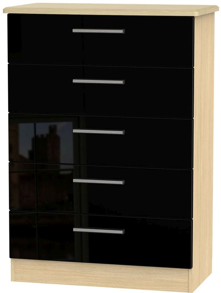 Knightsbridge High Gloss Black and Light Oak Chest of Drawer - 5 Drawer