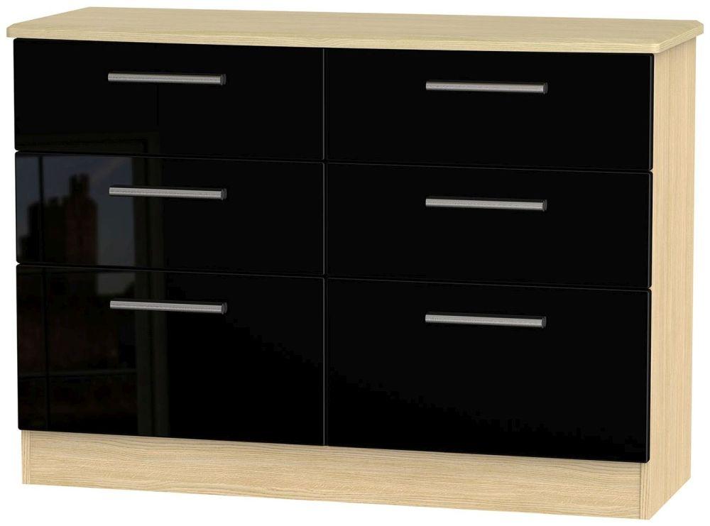 Knightsbridge 6 Drawer Midi Chest - High Gloss Black and Light Oak