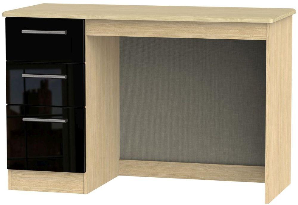 Knightsbridge Desk - High Gloss Black and Light Oak
