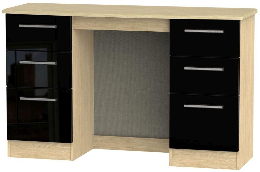 Knightsbridge High Gloss Black and Light Oak Dressing Table - Knee Hole Double Pedestal