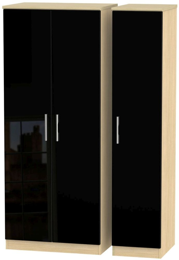 Knightsbridge 3 Door Plain Wardrobe - High Gloss Black and Light Oak
