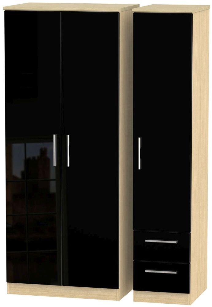 Knightsbridge High Gloss Black and Light Oak Triple Wardrobe - Plain with 2 Drawer