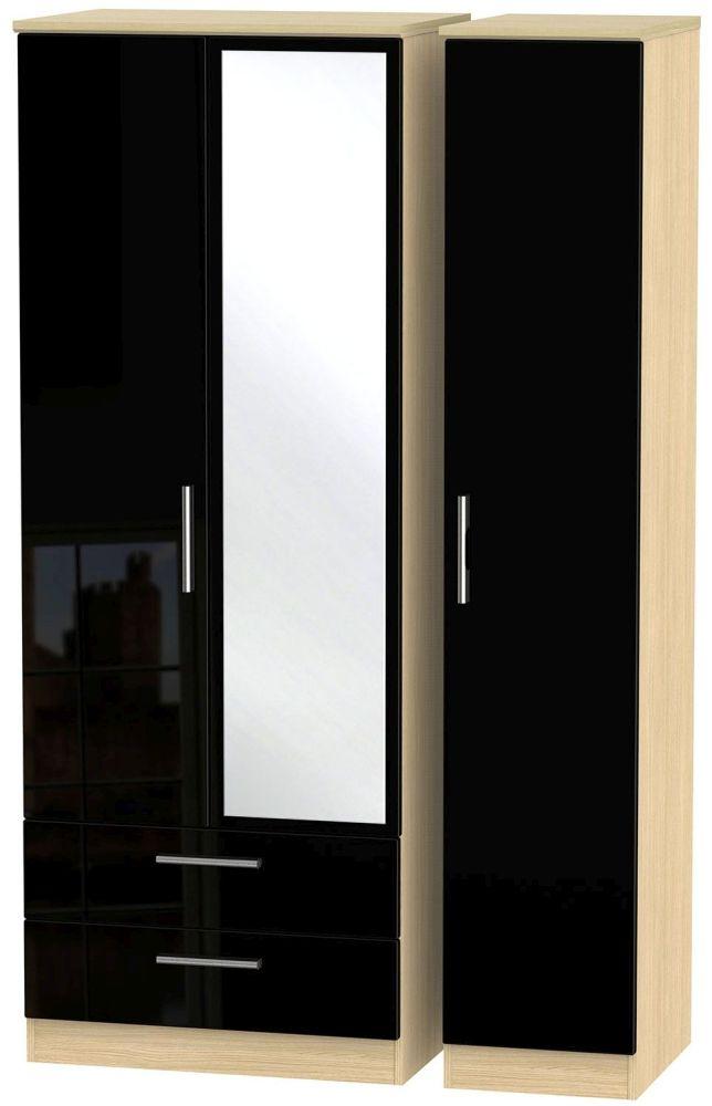 Knightsbridge High Gloss Black and Light Oak Triple Wardrobe - Tall with 2 Drawer and Mirror