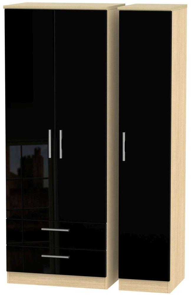 Knightsbridge High Gloss Black and Light Oak Triple Wardrobe - Tall with 2 Drawer