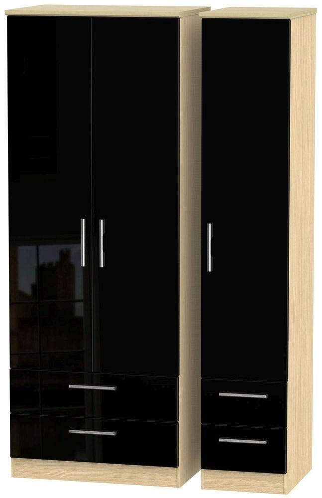 Knightsbridge High Gloss Black and Light Oak Triple Wardrobe - Tall with Drawer