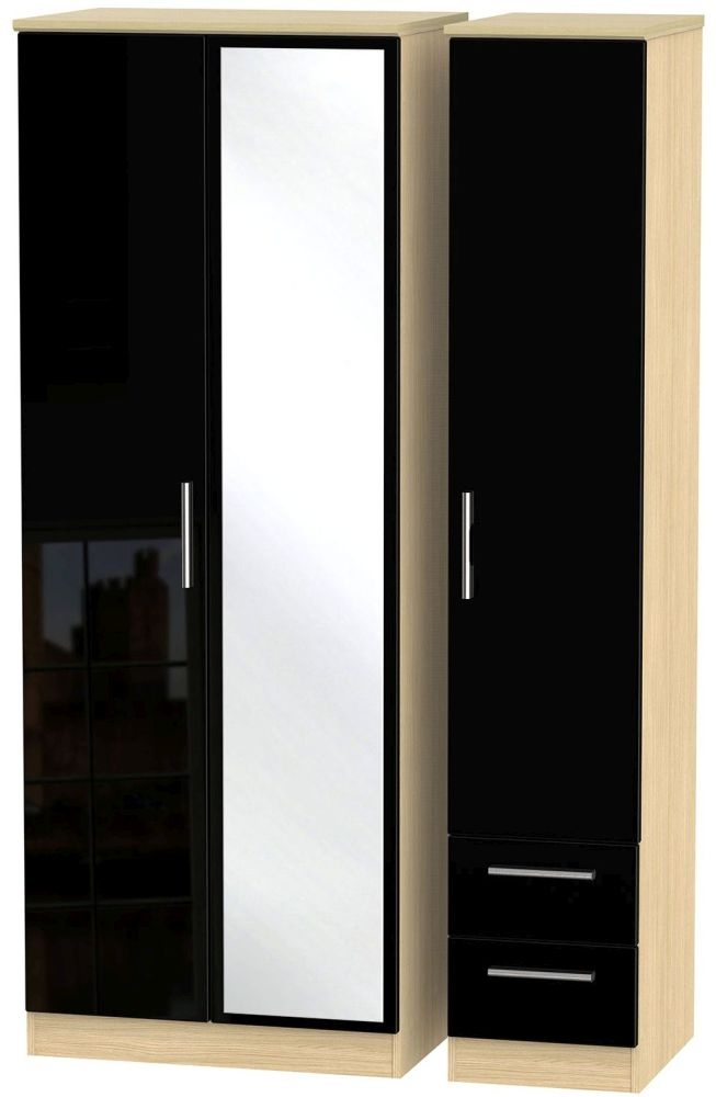Knightsbridge High Gloss Black and Light Oak Triple Wardrobe - Tall with Mirror and 2 Drawer