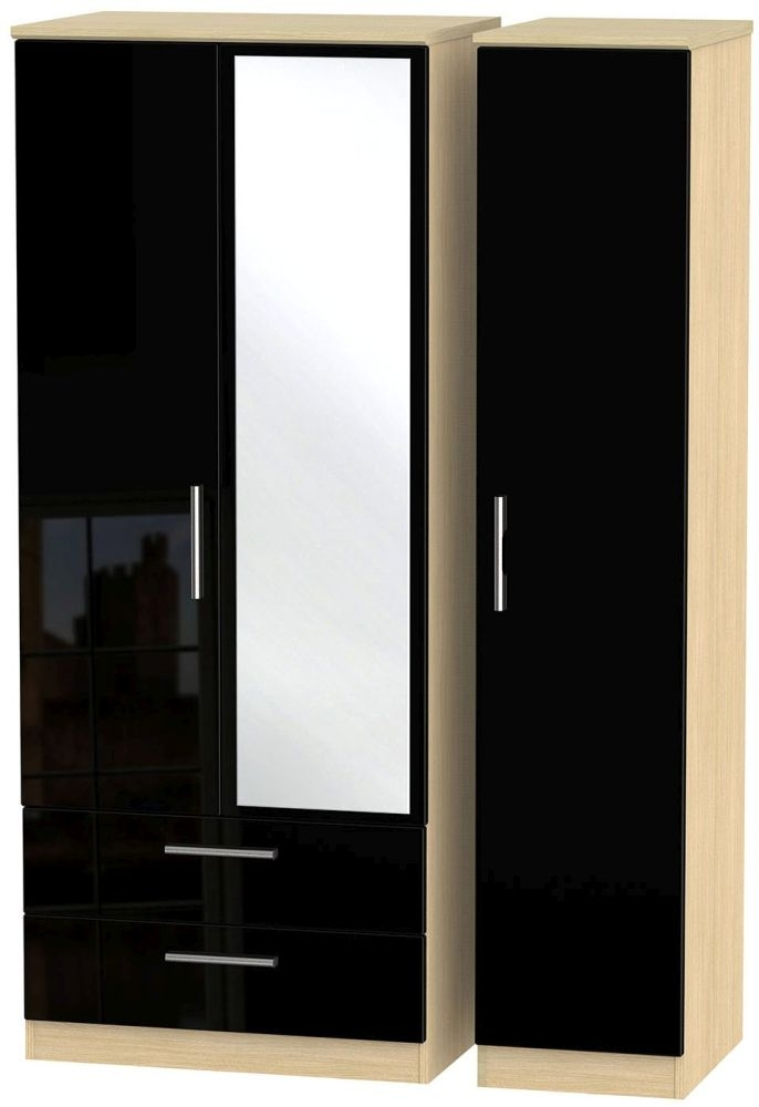 Knightsbridge High Gloss Black and Light Oak Triple Wardrobe with 2 Drawer and Mirror