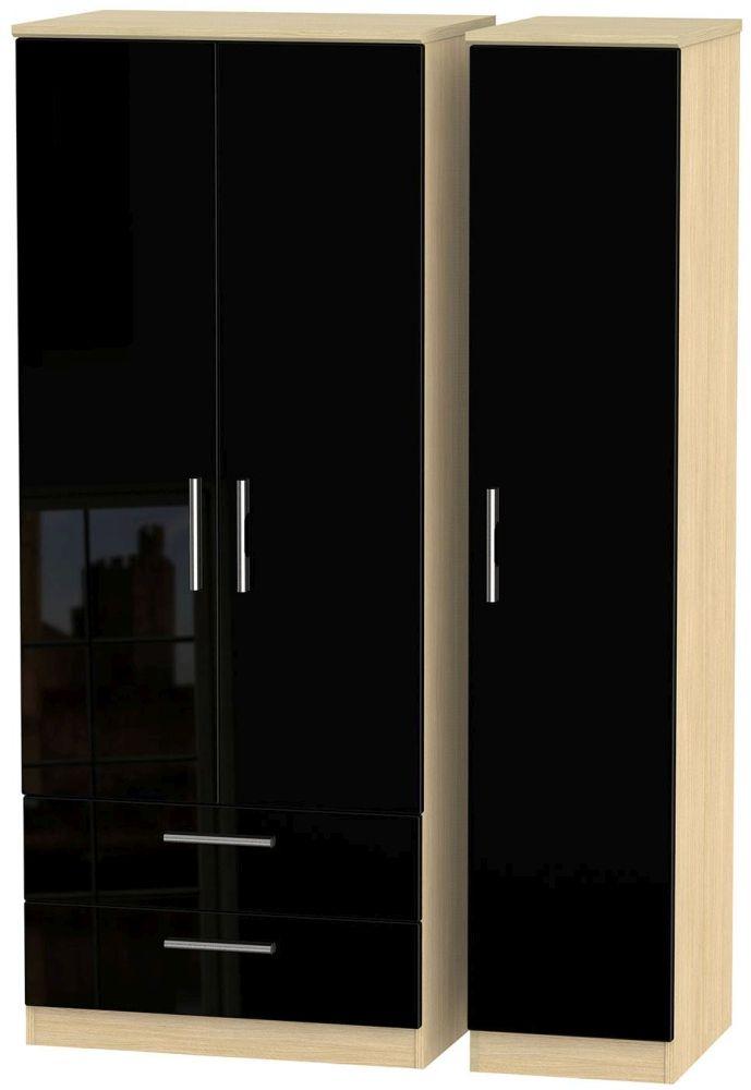 Knightsbridge High Gloss Black and Light Oak Triple Wardrobe with 2 Drawer
