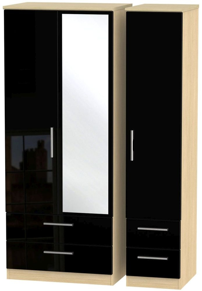 Knightsbridge 3 Door 4 Drawer Combi Wardrobe - High Gloss Black and Light Oak