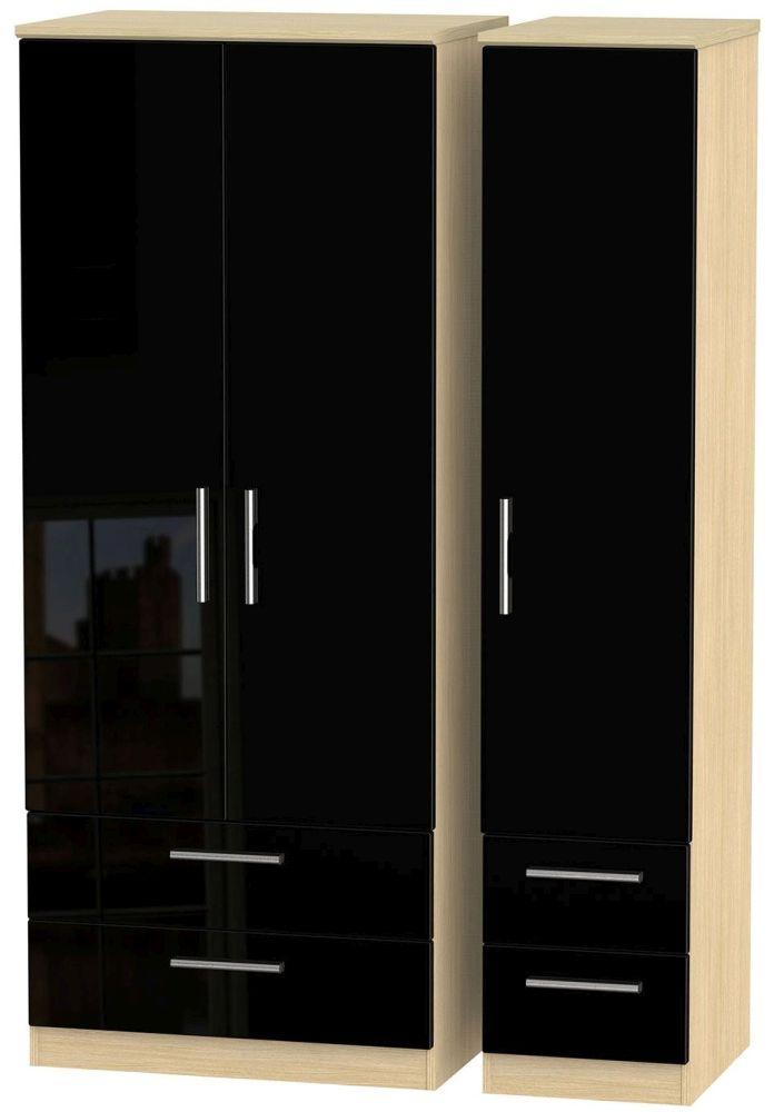 Knightsbridge High Gloss Black and Light Oak Triple Wardrobe with Drawer