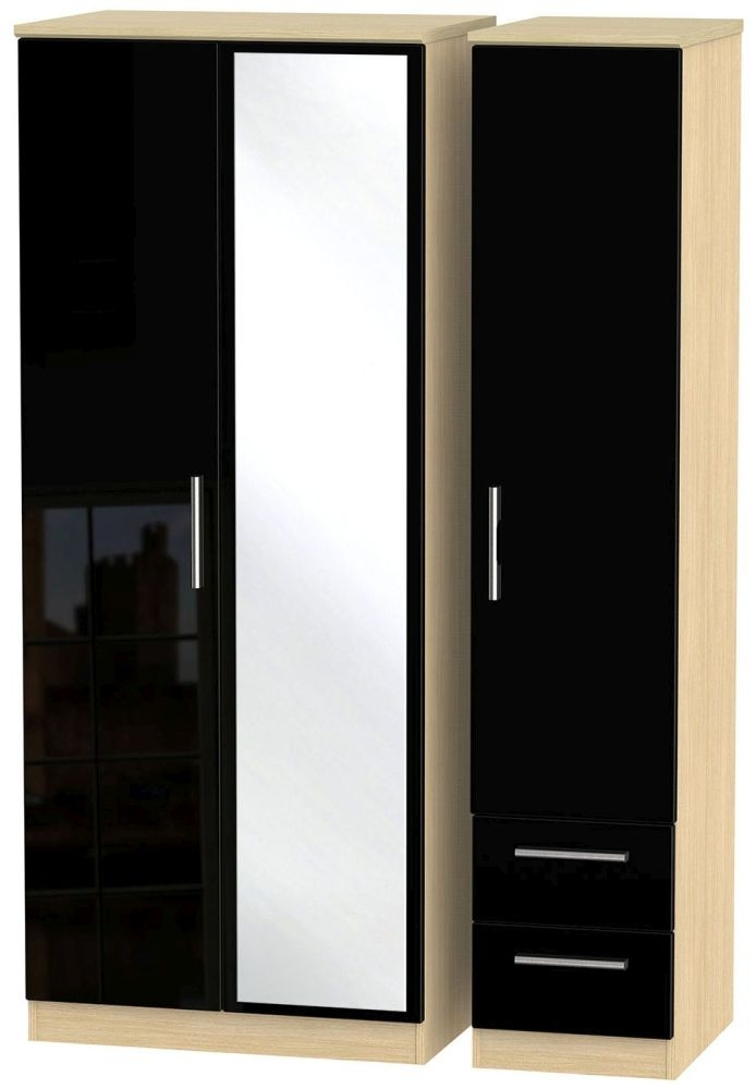 Knightsbridge High Gloss Black and Light Oak Triple Wardrobe with Mirror and 2 Drawer