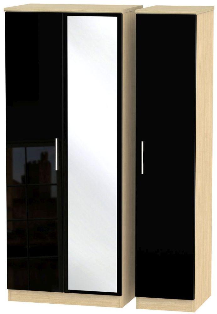 Knightsbridge High Gloss Black and Light Oak Triple Wardrobe with Mirror