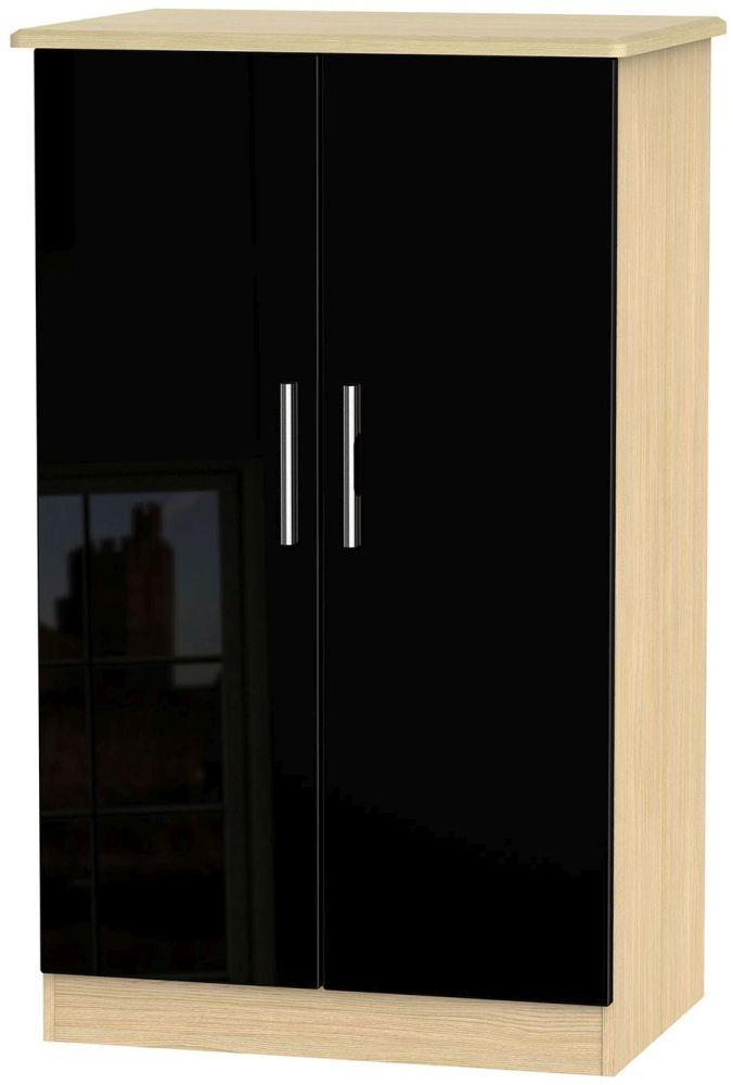 Knightsbridge High Gloss Black and Light Oak Wardrobe - 2ft 6in Plain Midi