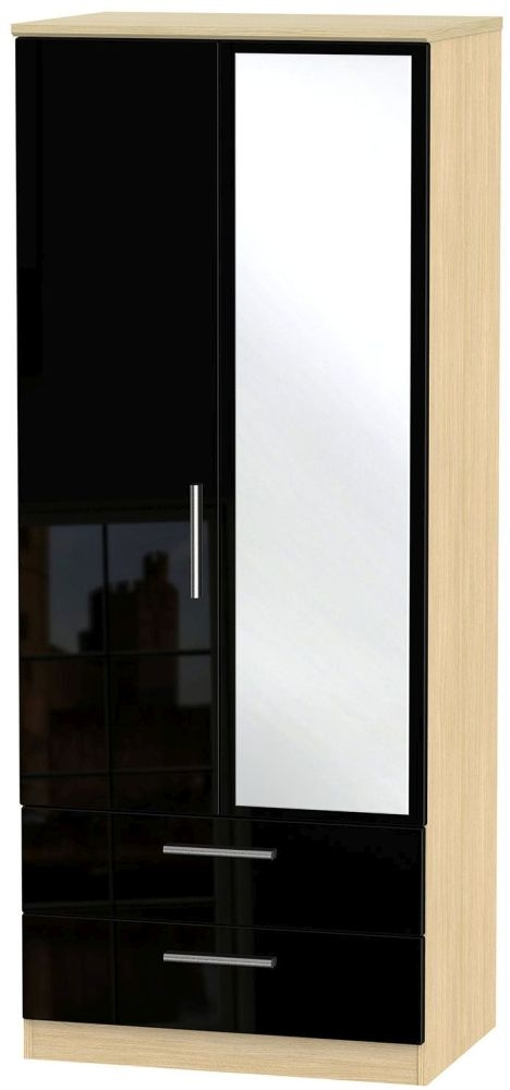 Knightsbridge High Gloss Black and Light Oak Wardrobe - 2ft 6in with 2 Drawer and Mirror